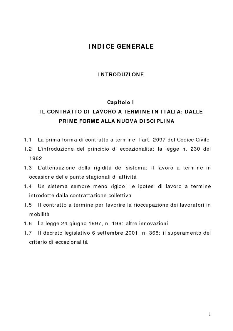Il contratto di lavoro a tempo determinato indice for Contratto 3 2
