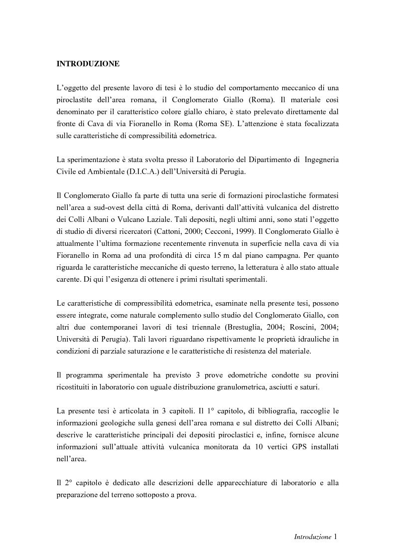 Risultati sperimentali di prove edometriche sul conglomerato giallo dell'area romana - Tesi di Laurea