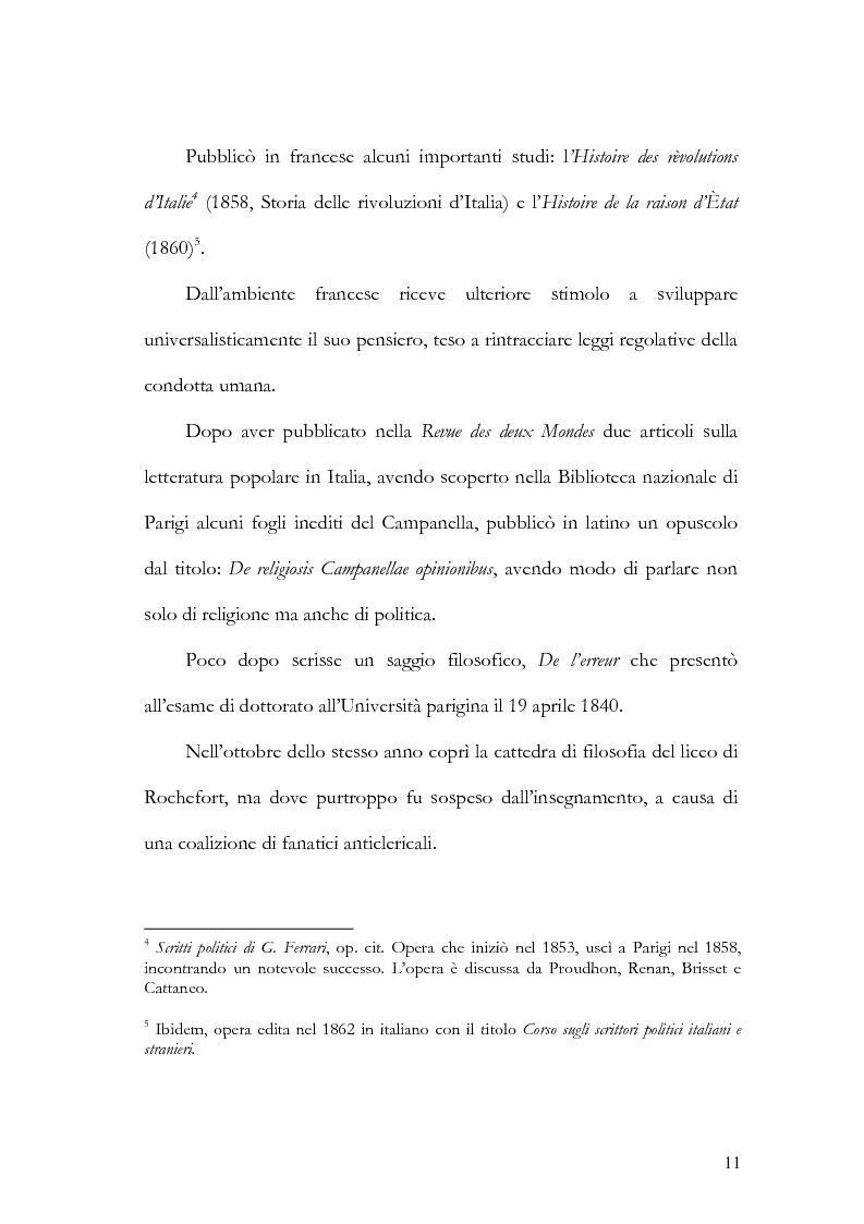 Anteprima della tesi: Il pensiero federalista: Giuseppe Ferrari, storia, filosofia e politica, Pagina 10