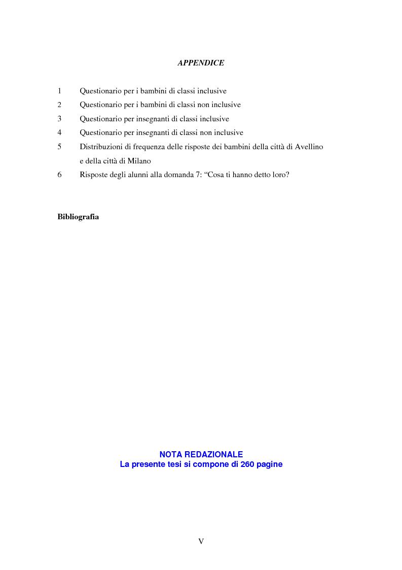 Indice della tesi: Conoscenze, atteggiamenti e sentimenti intorno ai pari in condizioni di disabilità. Uno studio nella scuola elementare, Pagina 5