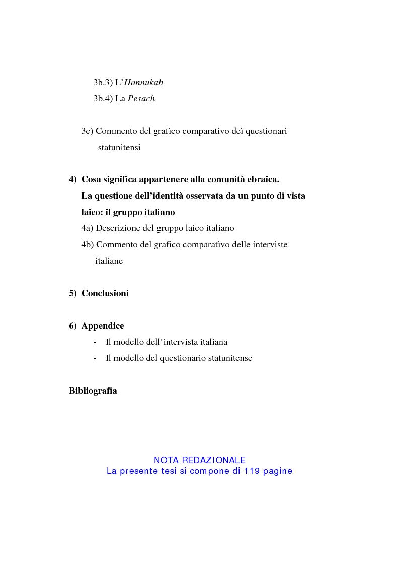 Indice della tesi: L'identità ebraica laica. Un confronto tra la prospettiva italiana e quella statunitense, Pagina 2