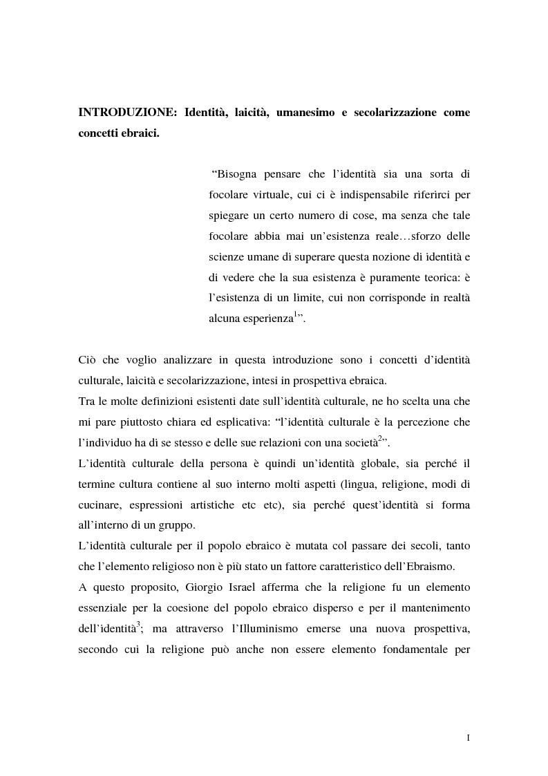 Anteprima della tesi: L'identità ebraica laica. Un confronto tra la prospettiva italiana e quella statunitense, Pagina 1