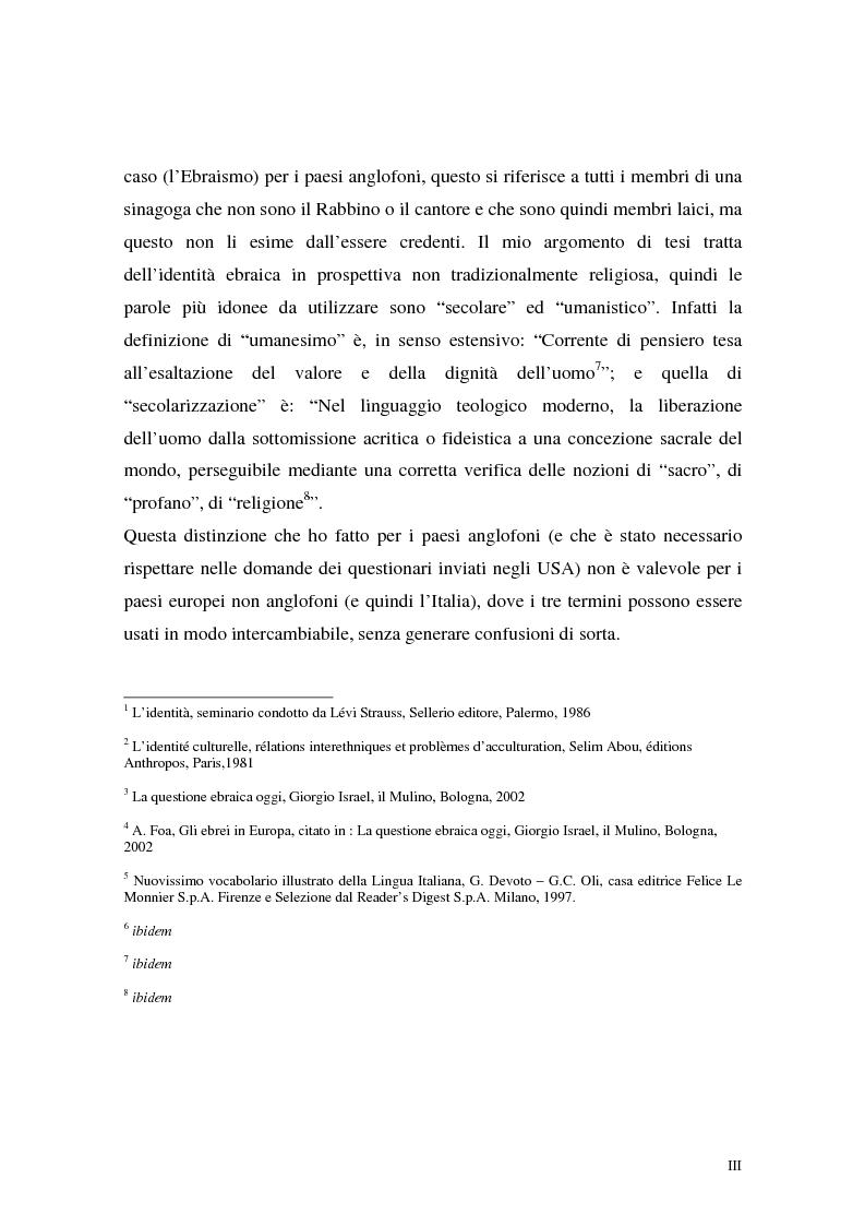 Anteprima della tesi: L'identità ebraica laica. Un confronto tra la prospettiva italiana e quella statunitense, Pagina 3