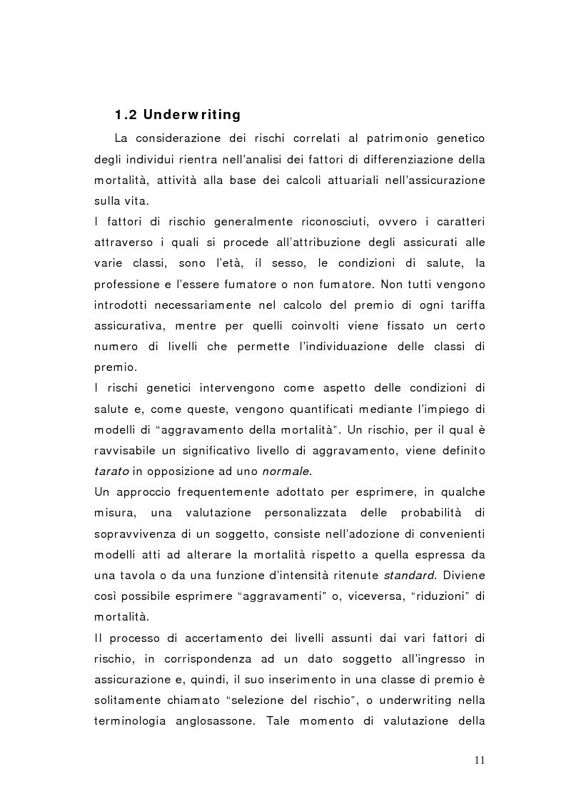 Anteprima della tesi: L'influenza dei test genetici sull'underwriting dell'assicurazione vita, Pagina 8