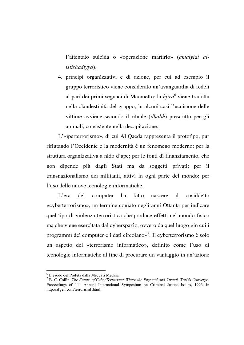 Anteprima della tesi: Terrorismo: dal fondamentalismo religioso ad Internet, Pagina 5