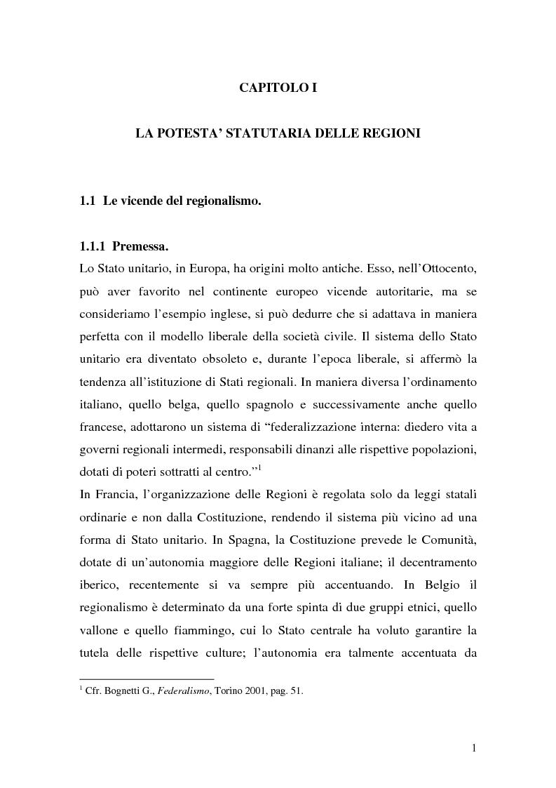 Anteprima della tesi: Lo Statuto Regionale nel nuovo Titolo V della Costituzione. Le prime indicazioni della giurisprudenza costituzionale., Pagina 1