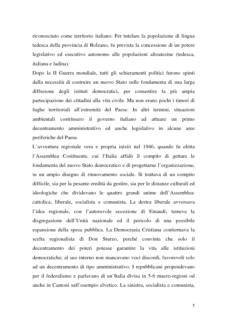 Anteprima della tesi: Lo Statuto Regionale nel nuovo Titolo V della Costituzione. Le prime indicazioni della giurisprudenza costituzionale., Pagina 5