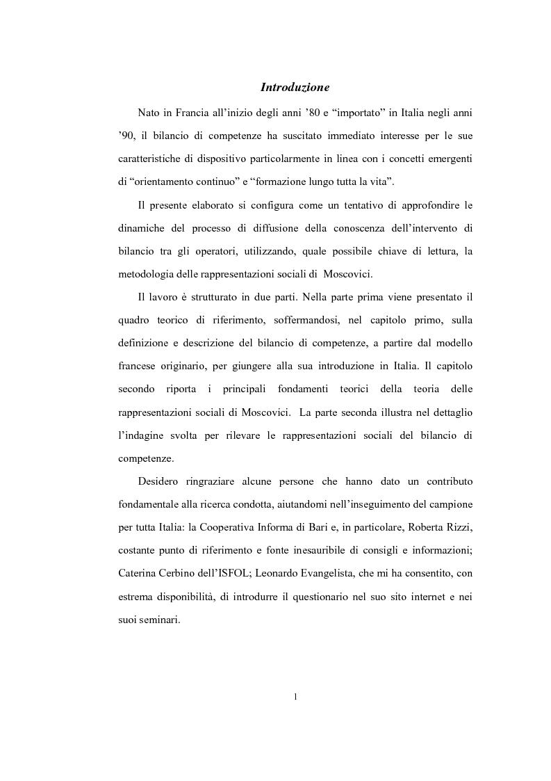 Anteprima della tesi: Bilancio di competenze: una rappresentazione sociale in evoluzione, Pagina 1