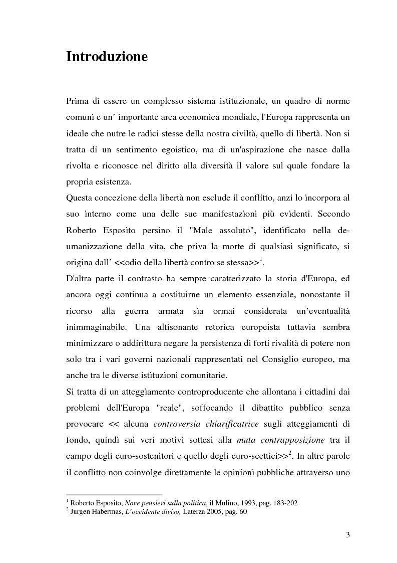 Anteprima della tesi: I limiti geopolitici dell' Europa nell'era della globalizzazione. Il contributo di Limes al dibattito sull'evoluzione dell' identità internazionale europea dopo il 1989., Pagina 1