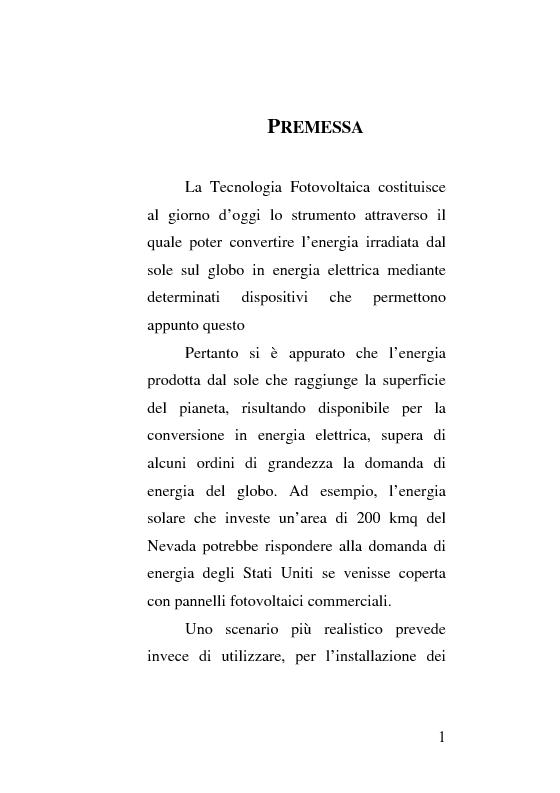 Anteprima della tesi: Dinamiche evolutive della diffusione del sistema fotovoltaico nel settore energetico nazionale, Pagina 1