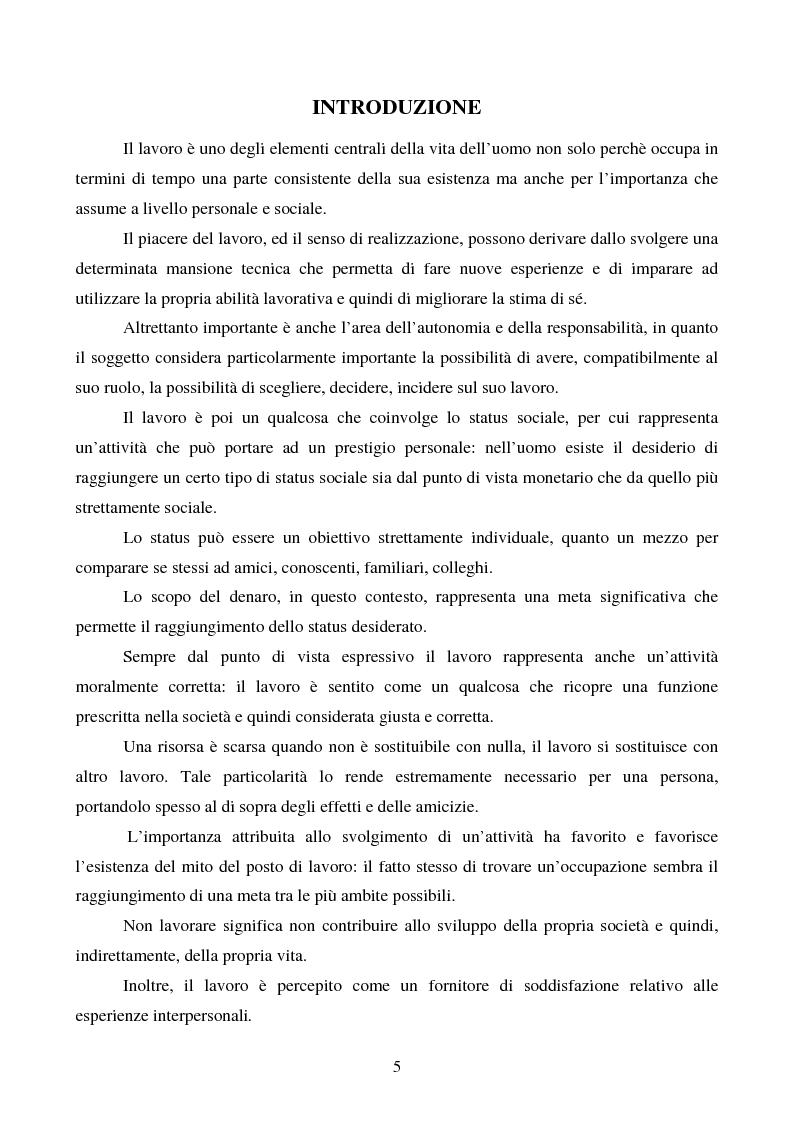 Anteprima della tesi: Lavoro e malessere psicologico. Stress e Mobbing, Pagina 1