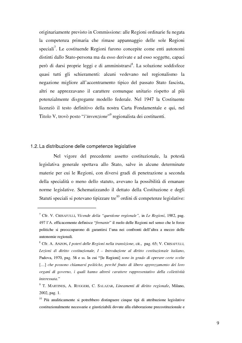 Anteprima della tesi: Il problema della definizione delle materie nell'art 117 della Costituzione alla luce dell'opera interpretativa della Corte costituzionale, Pagina 6