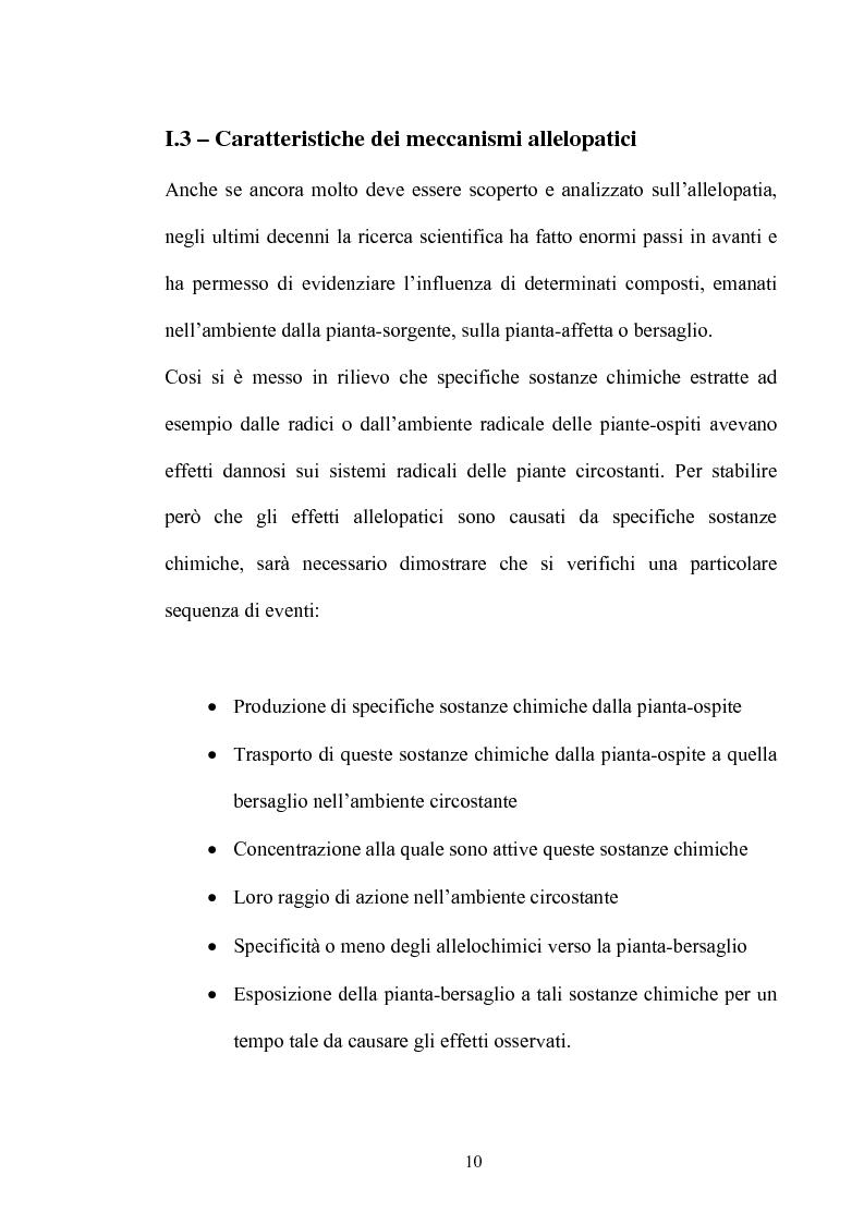 Anteprima della tesi: Potenziali allelochimici da Diplotaxis tenuifolia L.: effetti biologici, morfologici ed ultrastrutturali sulla germinazione e sviluppo dei semi di Raphanus sativus L. Saxa., Pagina 10