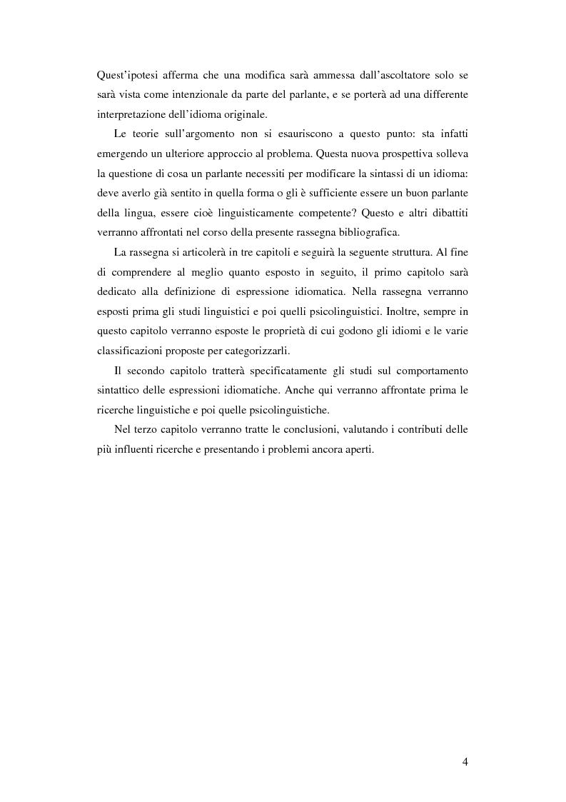 Anteprima della tesi: La flessibilità sintattica delle espressioni idiomatiche: rassegna bibliografica, Pagina 2