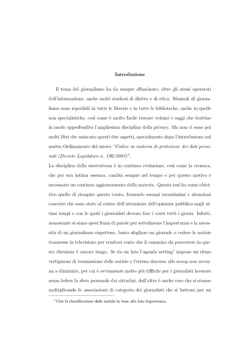 La tutela della riservatezza nel giornalismo - Tesi di Laurea