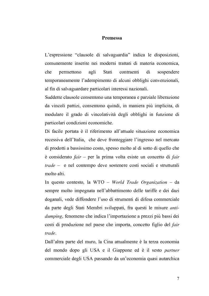 Anteprima della tesi: Le misure di salvaguardia ed il libero scambio di beni: il caso Cina., Pagina 1