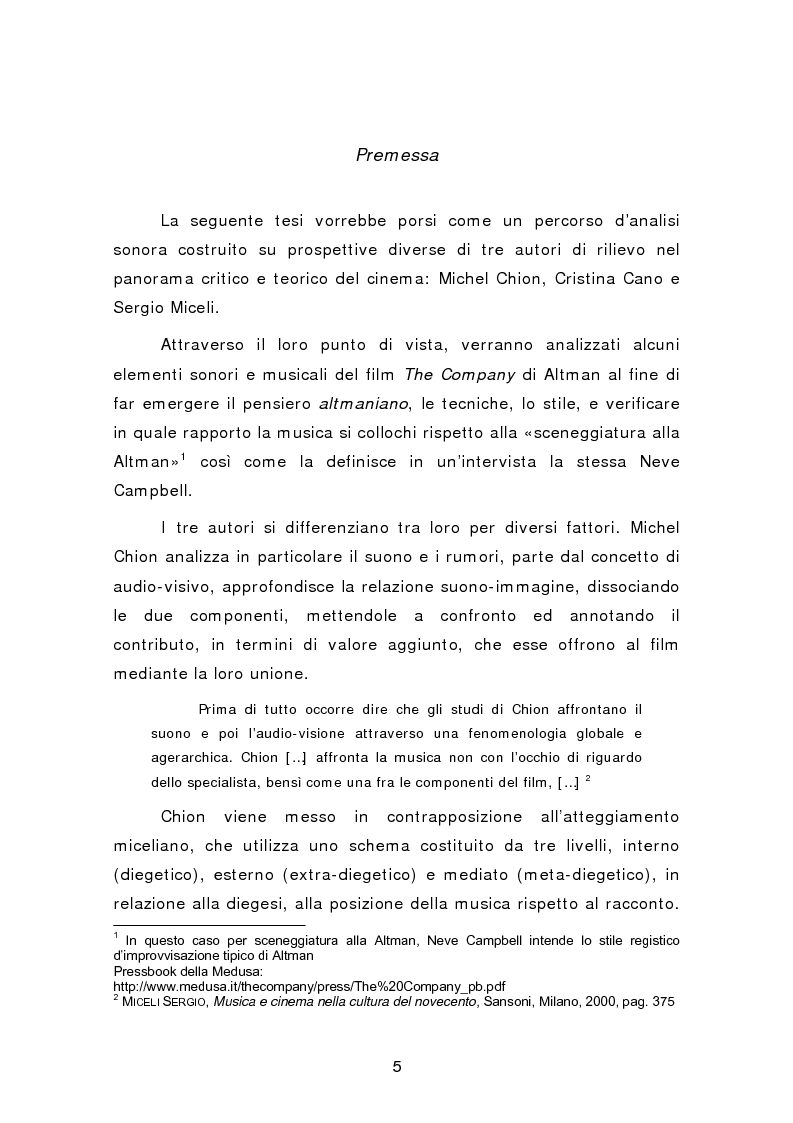 Anteprima della tesi: Analisi sonora del film The Company di Robert Altman, Pagina 1