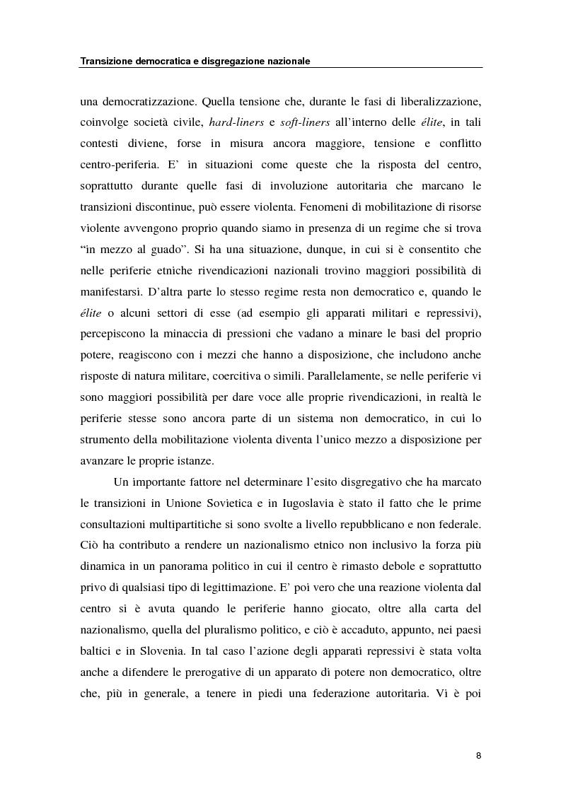 Anteprima della tesi: Transizione democratica e disgregazione nazionale: i rapporti centro-periferia in URSS, Iugoslavia e Cecoslovacchia, Pagina 8