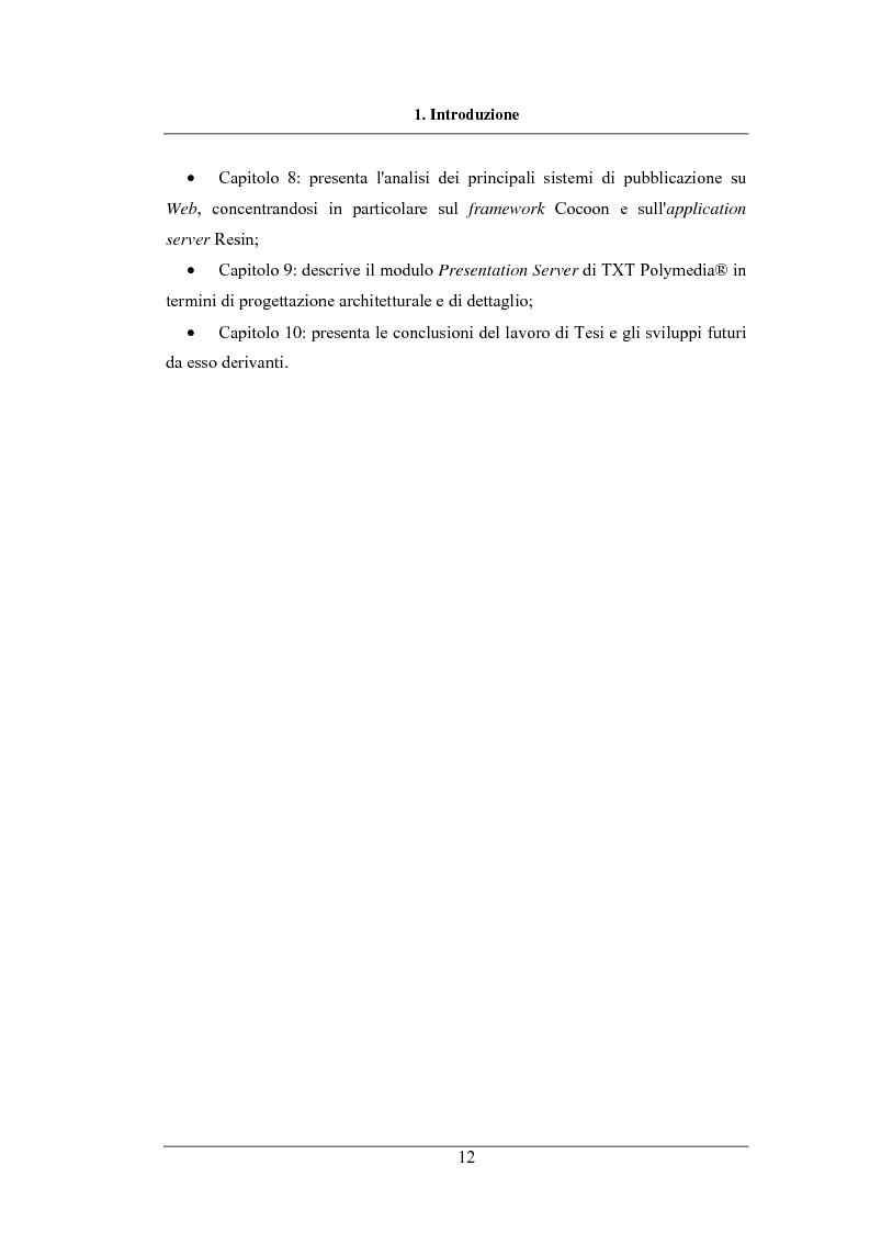 Anteprima della tesi: Modulo di Presentazione di Contenuti su Canali Multipli per un Sistema di On-Line Content Management, Pagina 6