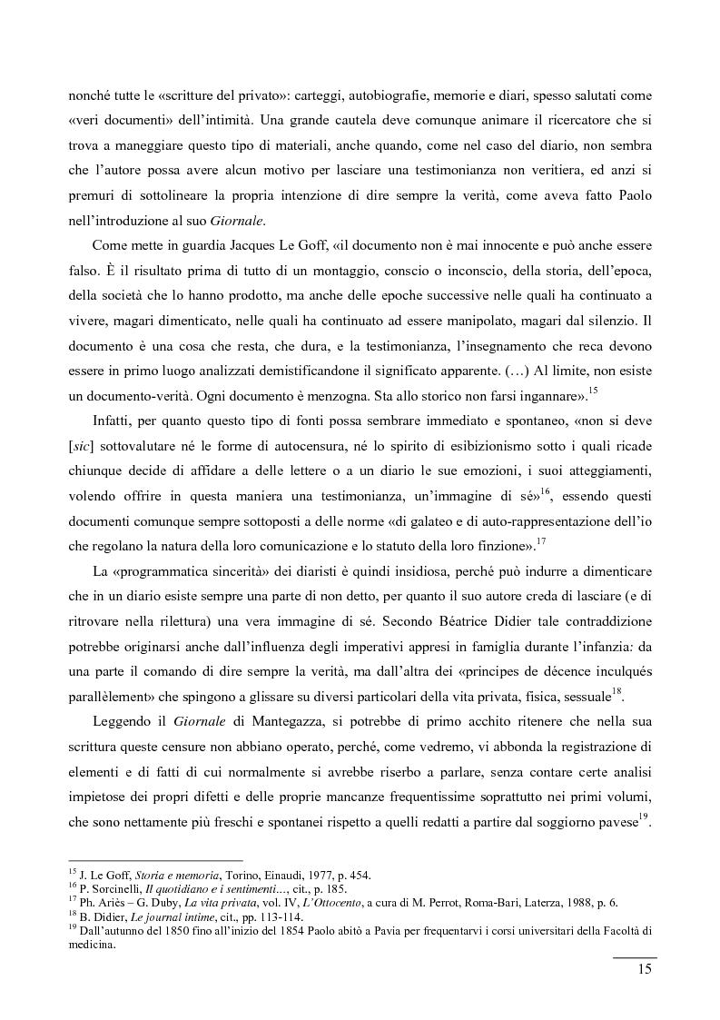 Anteprima della tesi: La giovinezza di Paolo Mantegazza nelle pagine del suo diario (1848-1858), Pagina 11