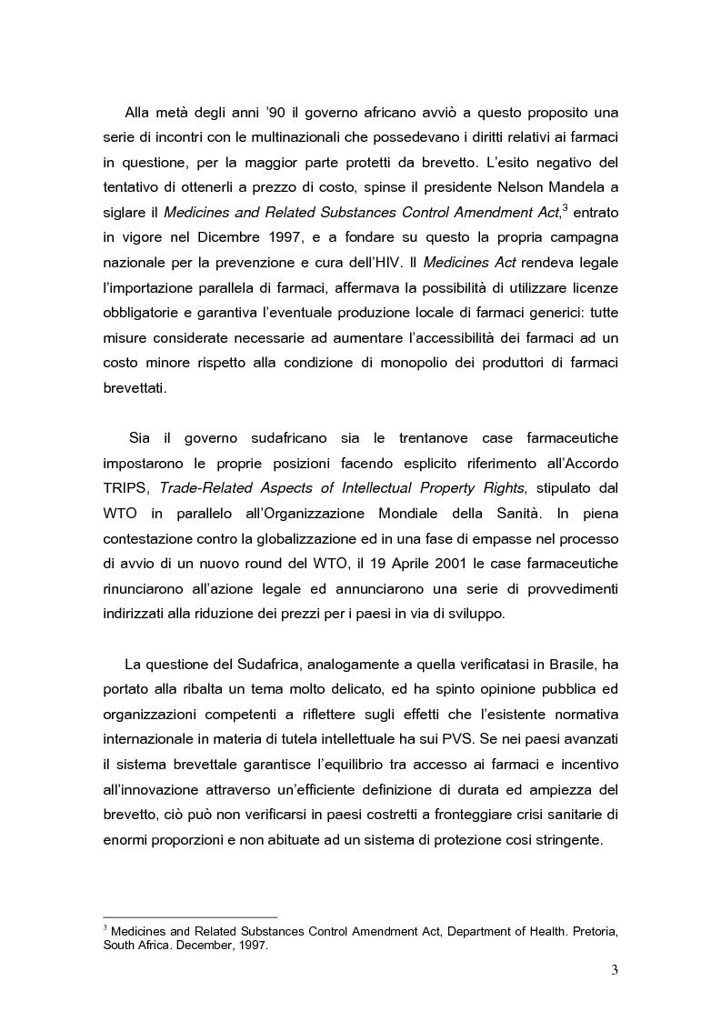 Anteprima della tesi: L'accordo TRIPS e l'accesso ai farmaci essenziali nei paesi in via di sviluppo, Pagina 2