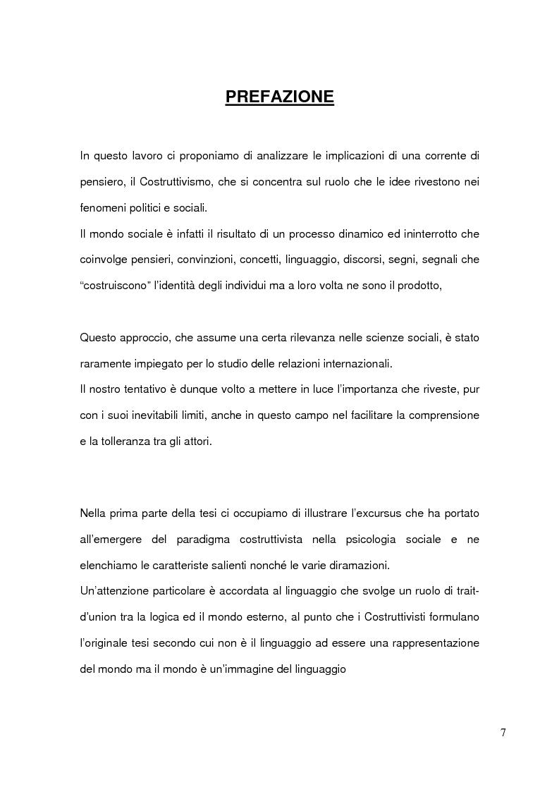 Anteprima della tesi: Costruttivismo e scienza politica: il ruolo delle idee nelle relazioni internazionali, Pagina 1