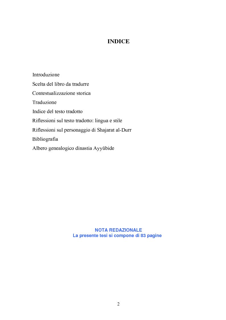 Indice della tesi: Donne musulmane a capo di un governo: Shajarat al_Durr, Pagina 1