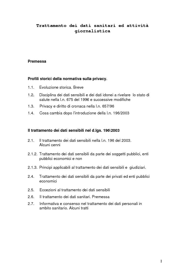Indice della tesi: Tutela della privacy ed attività giornalistica in Italia e Gran Bretagna, Pagina 1