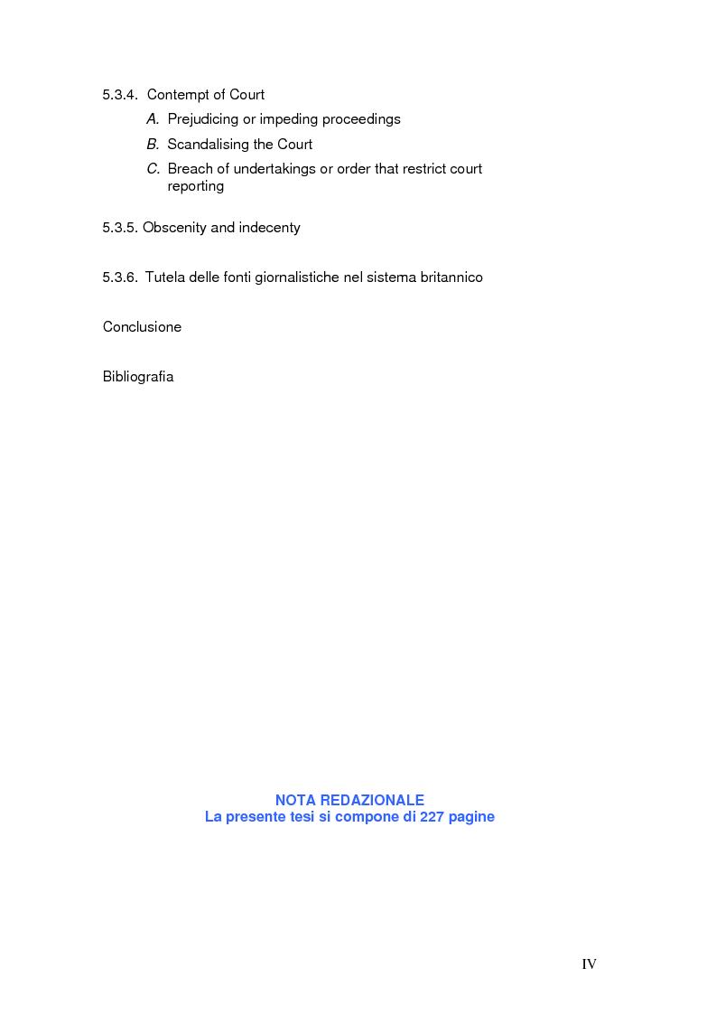 Indice della tesi: Tutela della privacy ed attività giornalistica in Italia e Gran Bretagna, Pagina 4