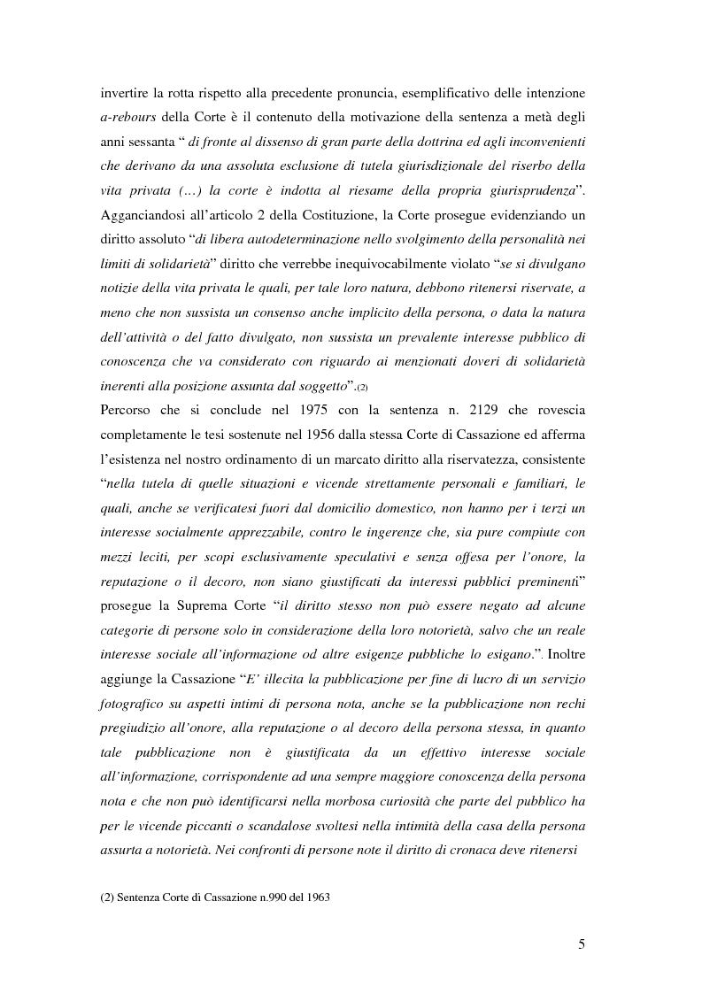 Anteprima della tesi: Tutela della privacy ed attività giornalistica in Italia e Gran Bretagna, Pagina 5