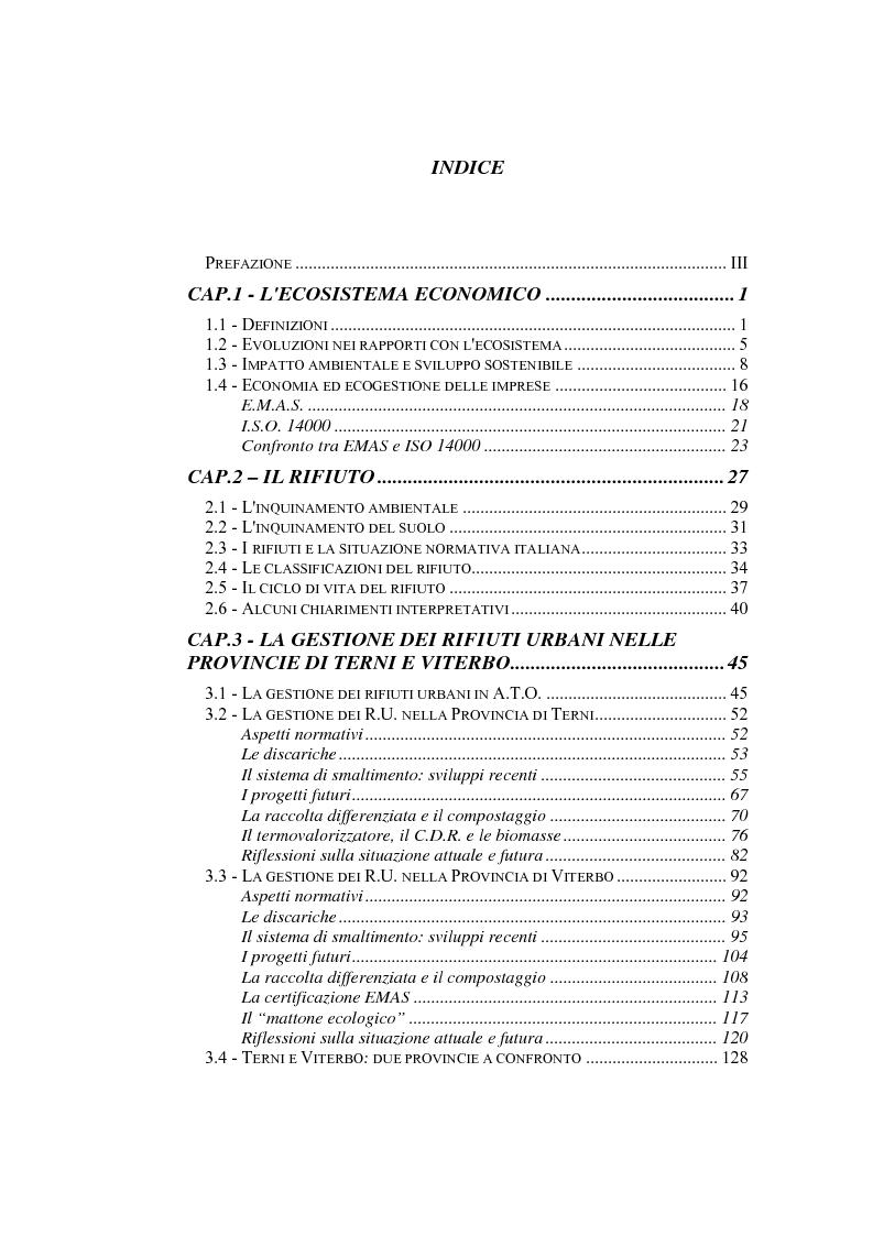 Indice della tesi: Il sistema di gestione dei rifiuti negli ambiti territoriali delle provincie di Terni e Viterbo, Pagina 1