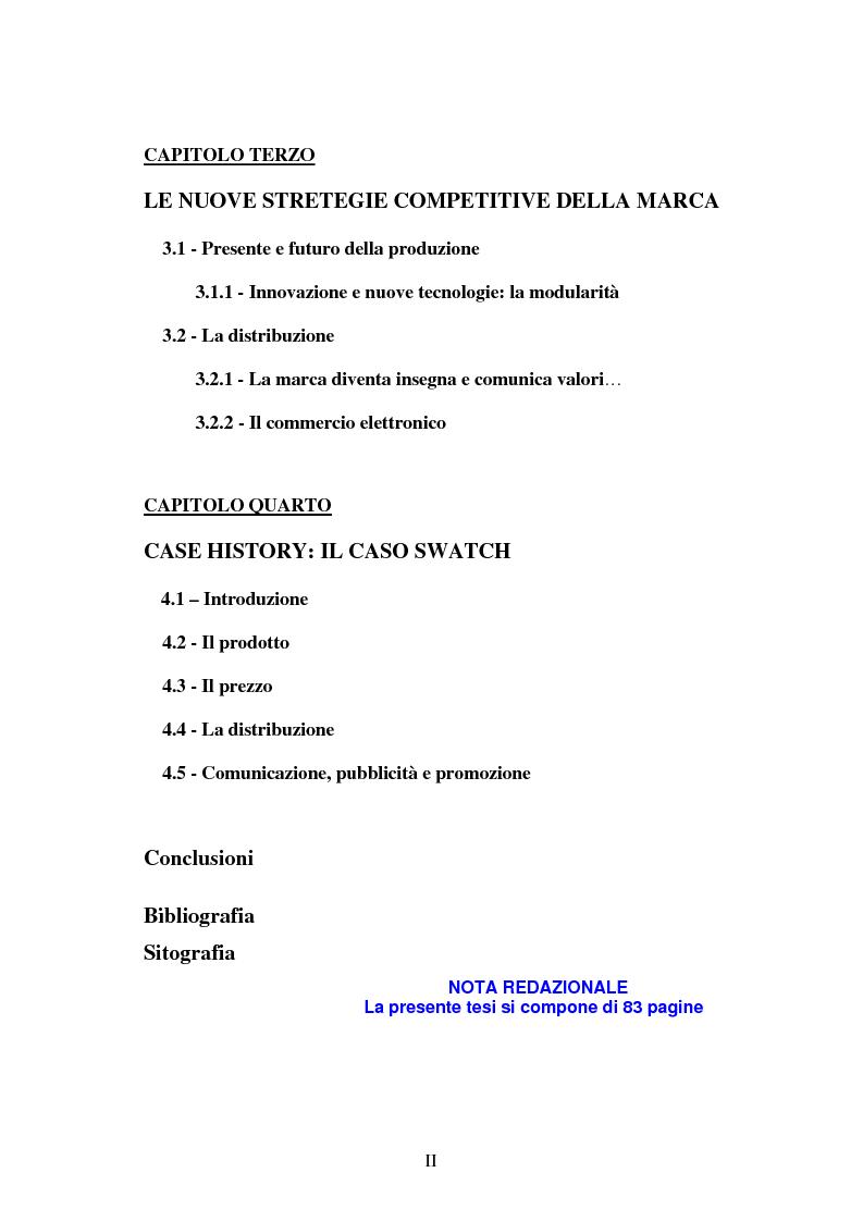 Indice della tesi: Le strategie di marca nel mercato degli orologi. Il caso Swatch, Pagina 2