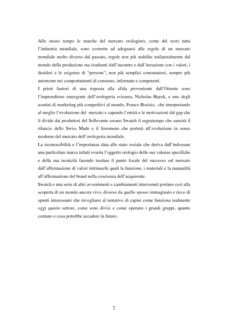 Anteprima della tesi: Le strategie di marca nel mercato degli orologi. Il caso Swatch, Pagina 2