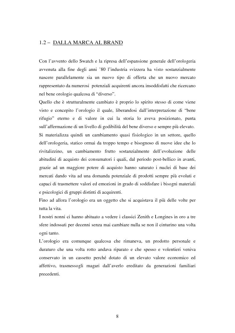 Anteprima della tesi: Le strategie di marca nel mercato degli orologi. Il caso Swatch, Pagina 8