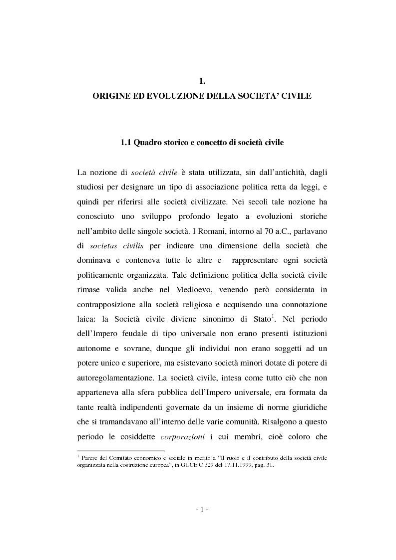Anteprima della tesi: Il contributo della società civile e delle Organizzazioni Non Governative allo sviluppo dei programmi comunitari, Pagina 1
