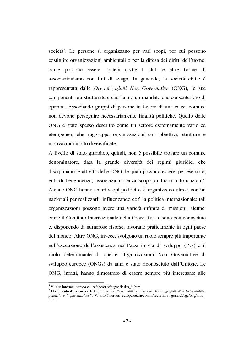 Anteprima della tesi: Il contributo della società civile e delle Organizzazioni Non Governative allo sviluppo dei programmi comunitari, Pagina 7