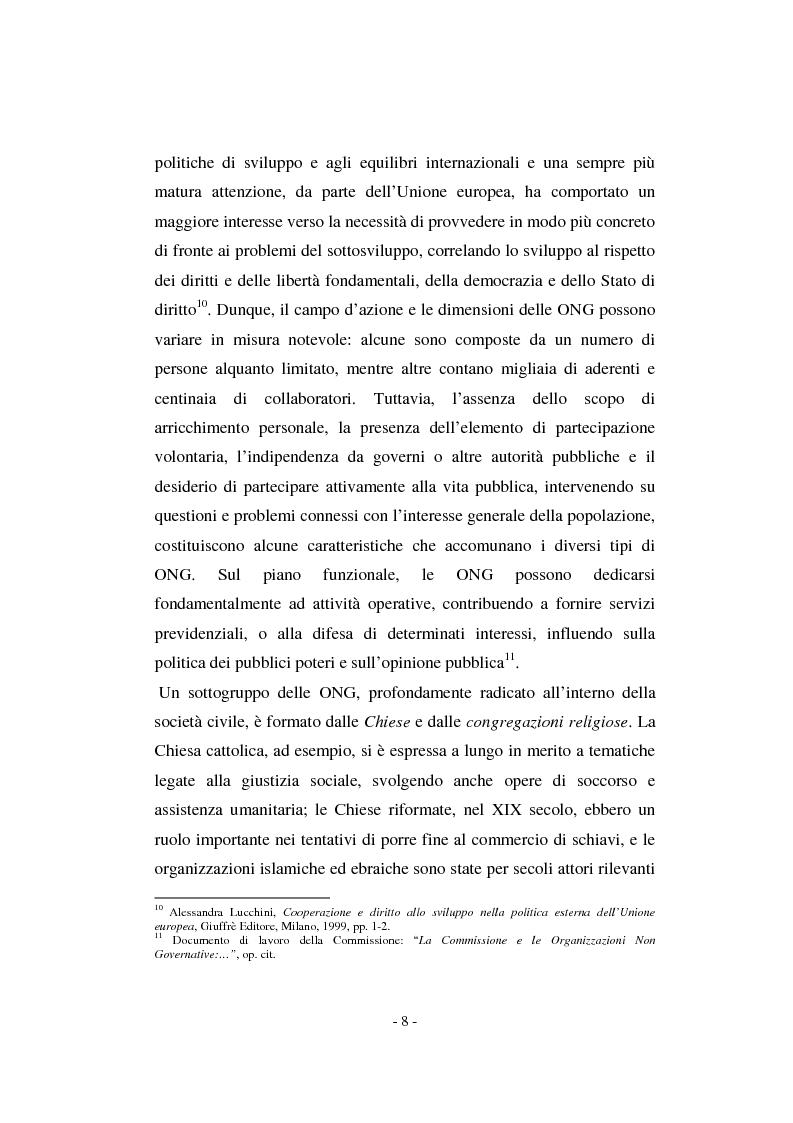 Anteprima della tesi: Il contributo della società civile e delle Organizzazioni Non Governative allo sviluppo dei programmi comunitari, Pagina 8