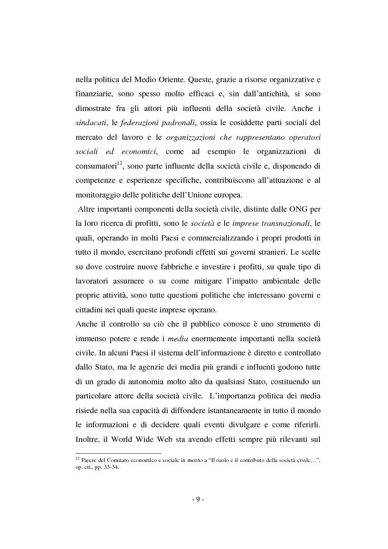 Anteprima della tesi: Il contributo della società civile e delle Organizzazioni Non Governative allo sviluppo dei programmi comunitari, Pagina 9