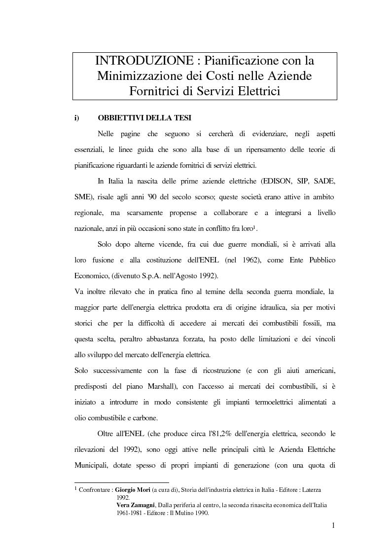 Anteprima della tesi: Metodi innovativi di pianificazione delle imprese elettriche, Pagina 1