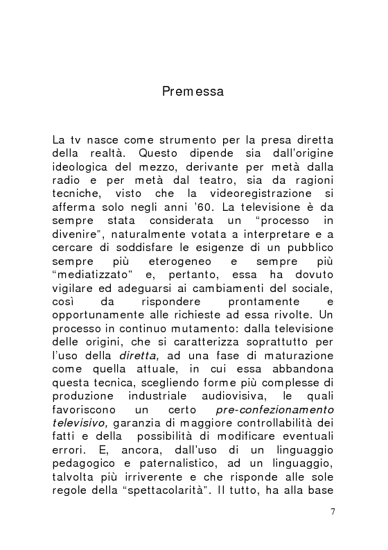 Anteprima della tesi: La scatola luminosa. Le nuove frontiere dell'informazione-intrattenimento: il caso costume e società., Pagina 1