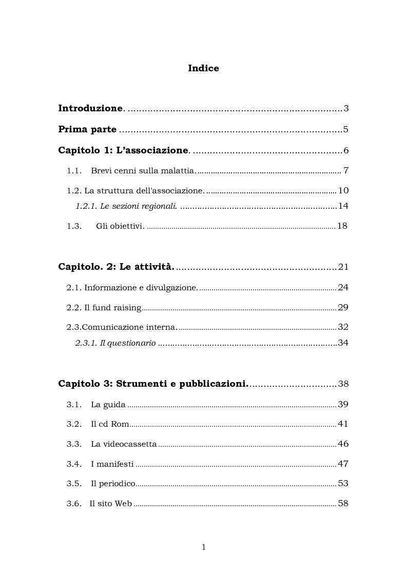 Indice della tesi: Comunicare una malattia rara: strategie di comunicazione e relazione dell'Associazione Italiana Sindrome X-Fragile, Pagina 1