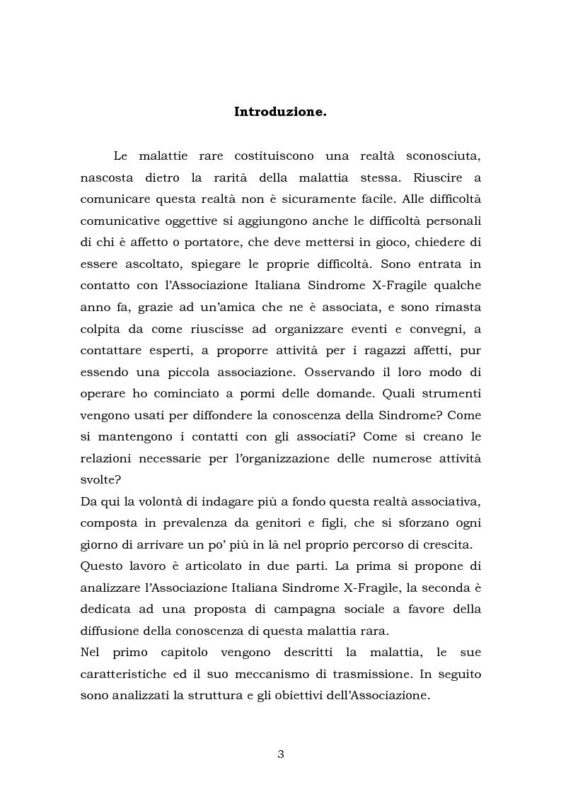 Anteprima della tesi: Comunicare una malattia rara: strategie di comunicazione e relazione dell'Associazione Italiana Sindrome X-Fragile, Pagina 1