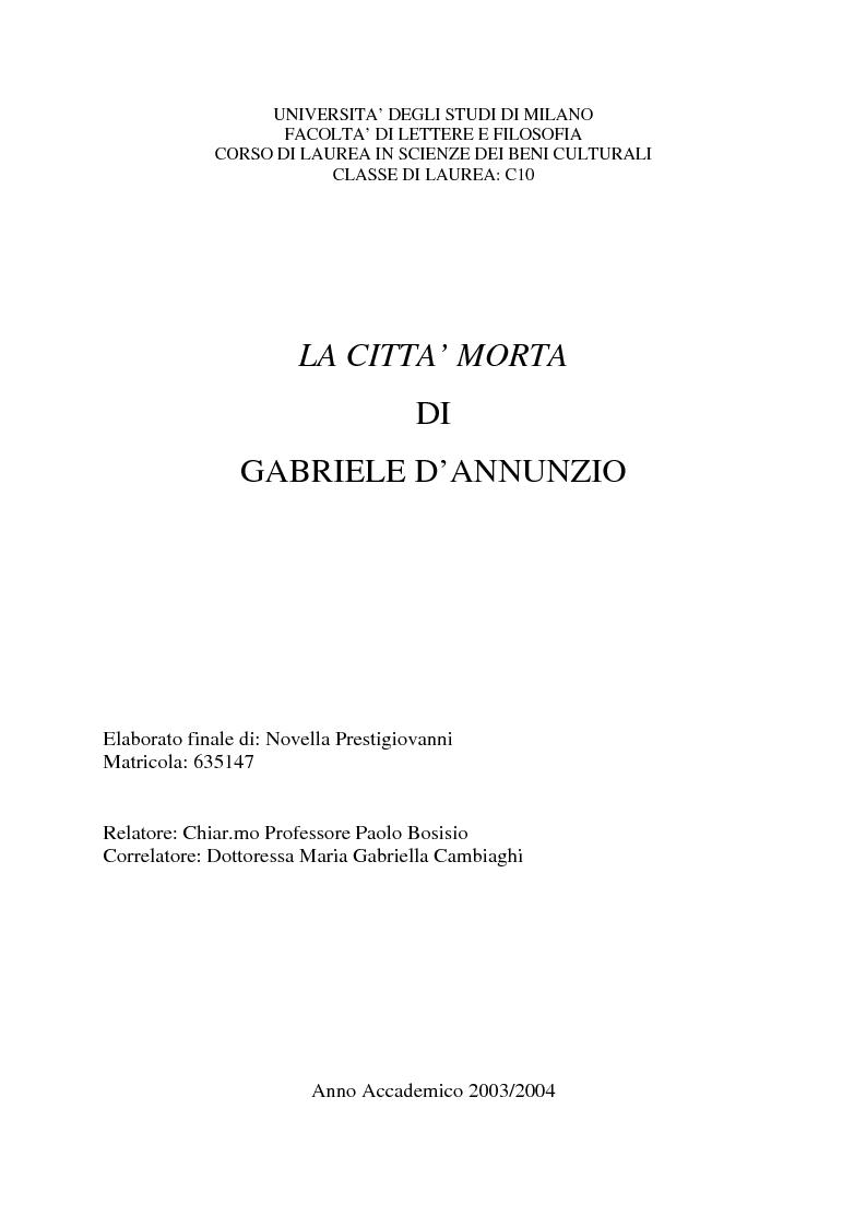 Anteprima della tesi: La Città morta di Gabriele D'Annunzio, Pagina 1