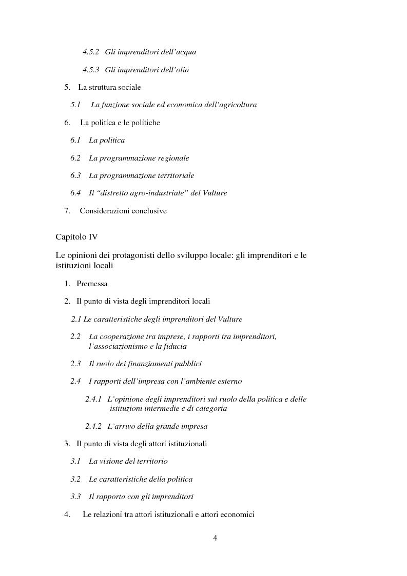 Indice della tesi: Agro-industria e sviluppo locale, Pagina 3