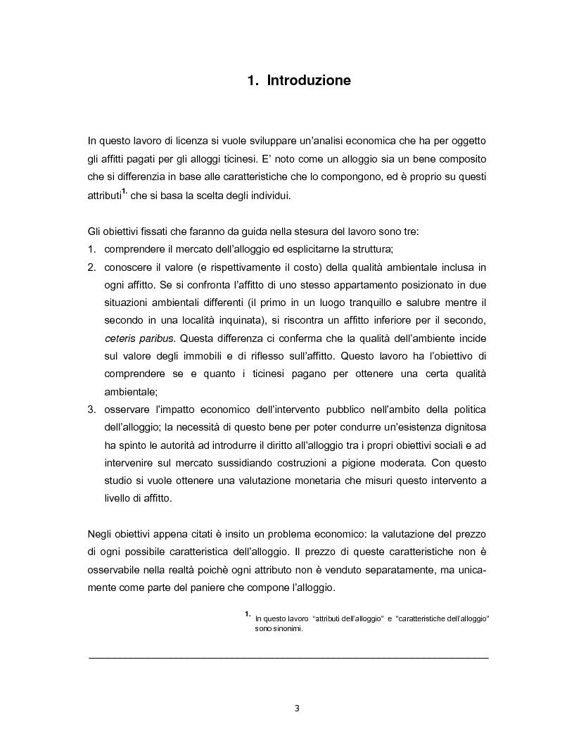 Il costo della qualit� negli alloggi ticinesi - Calcolato con il metodo dei prezzi edonici - Tesi di Laurea