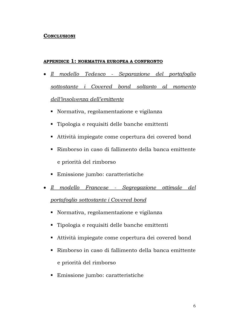 Indice della tesi: I Covered Bond in Europa e l'esperienza italiana, Pagina 4