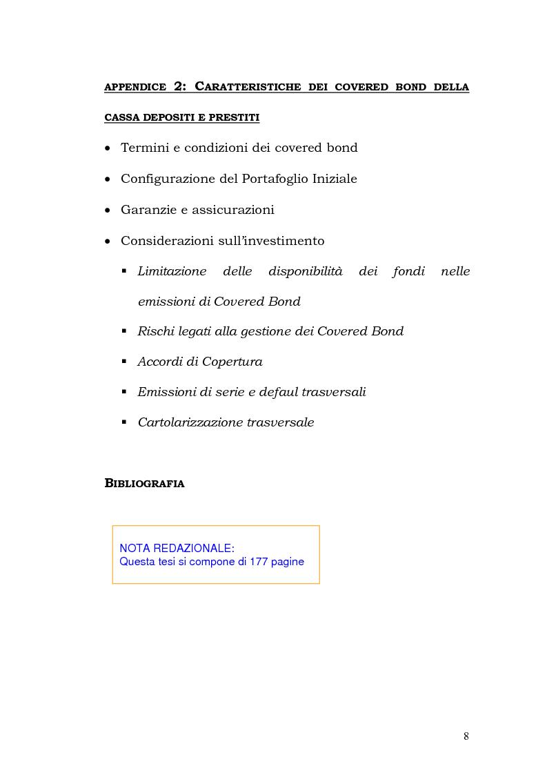 Indice della tesi: I Covered Bond in Europa e l'esperienza italiana, Pagina 6
