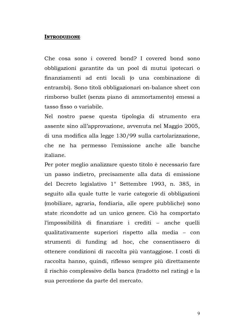 Anteprima della tesi: I Covered Bond in Europa e l'esperienza italiana, Pagina 1