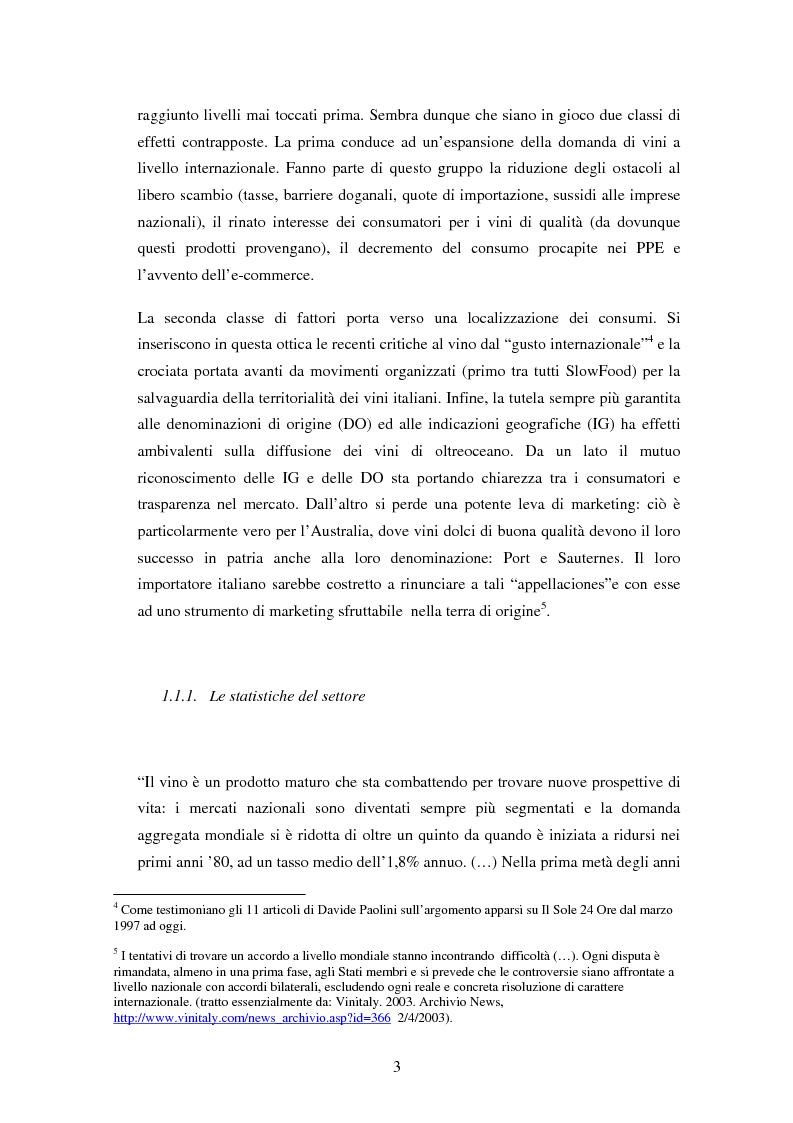 Anteprima della tesi: Strategie di internazionalizzazione nel settore vitivinicolo: Il caso australiano, Pagina 3