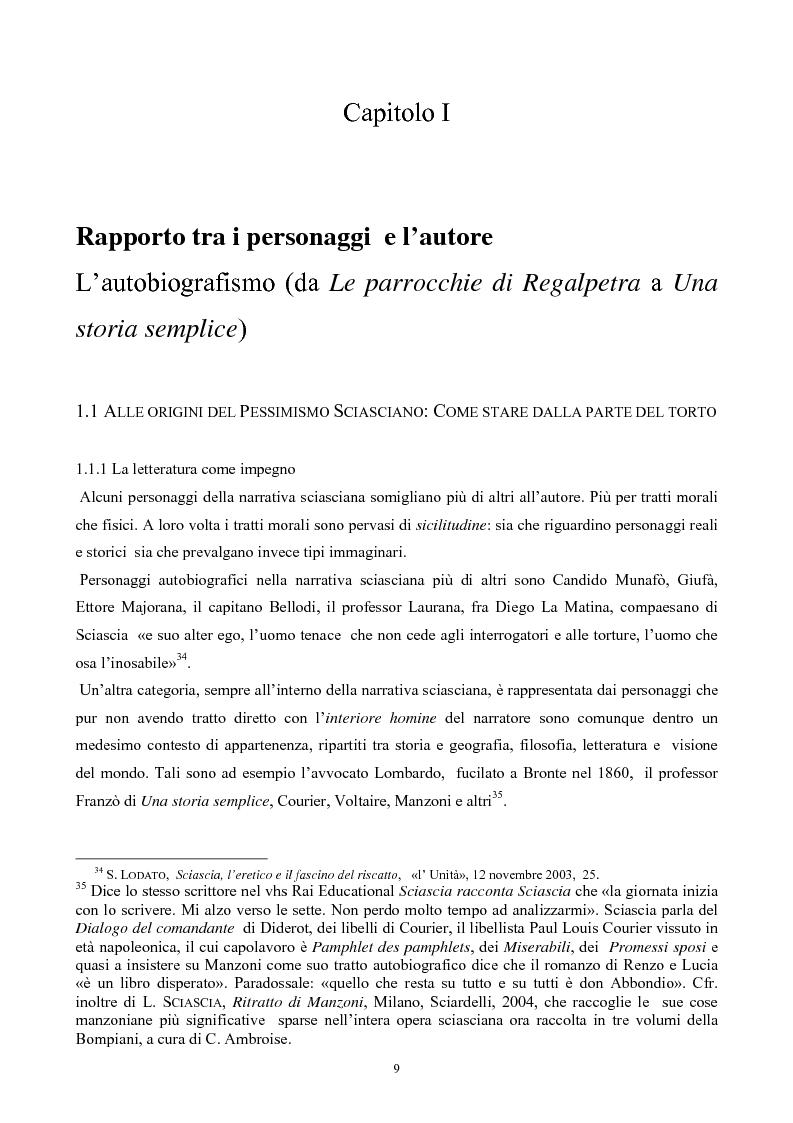 Anteprima della tesi: Tipologia del personaggio narrativo nell'opera di Leonardo Sciascia, Pagina 9